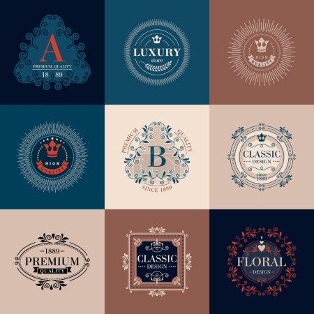 Luxury logo template ornament labels set.