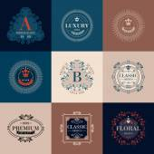 Luxury logo template glamour calligraphic monogram ornament colorful labels set Good for restaurant store shop boutique hotel heraldic jewelry fashion Vector illustration
