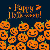 Funny pumpkins halloween background with greetings