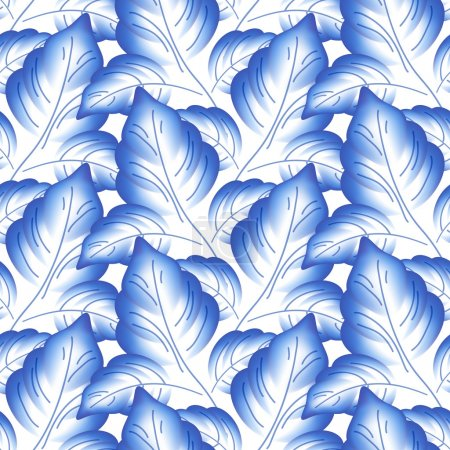 Illustration for Blue leaves floral russian porcelain beautiful folk ornament. Vector illustration. Seamless pattern background - Royalty Free Image