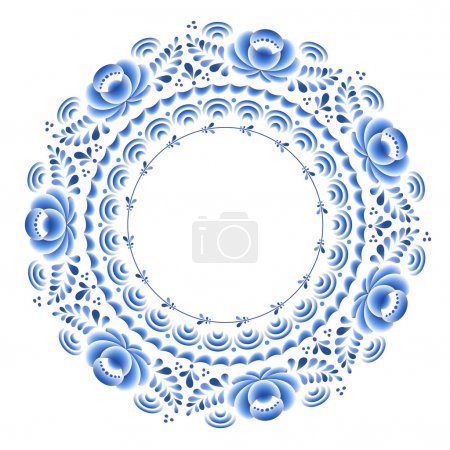 Illustration for Blue flowers floral russian porcelain round frame with beautiful folk ornament. Vector illustration. Decorative composition - Royalty Free Image