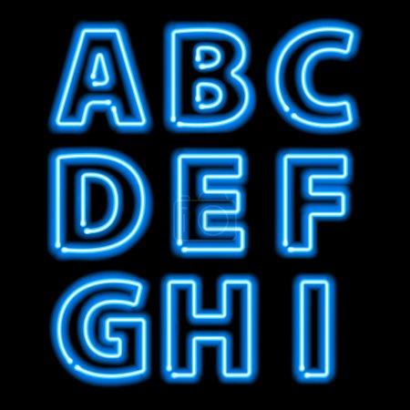 Illustration for Blue neon light glowing letters set. Abc alphabet text symbols vector illustration - Royalty Free Image