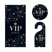 VIP zone members premium invitation card warning hanger and round label badge Black and golden design template set Pixel mosaic texture