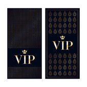VIP zone members premium invitation cards Black and golden design template set Dots and gemstones decorative patterns