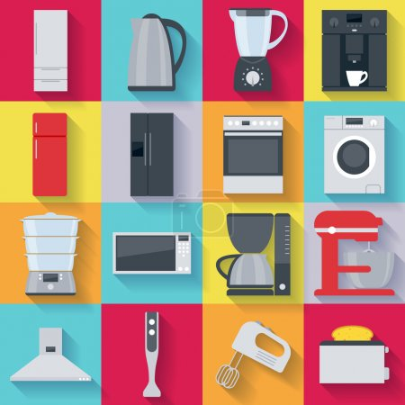 Illustration for Kitchen home appliances icons set. Fridge stove washing machine kettle mixer coffee maker microwave oven - Royalty Free Image