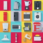 Kitchen home appliances icons set Fridge stove washing machine kettle mixer coffee maker microwave oven