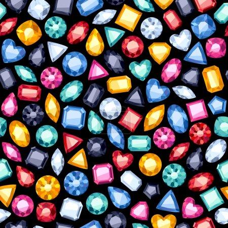 Illustration pour Fond de pierres précieuses diamant coloré sans couture sur noir. Modèle de bijoux - image libre de droit