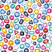Seamless gemstones pattern on white
