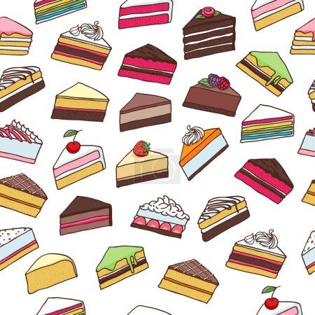 Illustration pour Gâteaux sucrés colorés tranches morceaux sans couture motif dessiné à la main fond vectoriel - image libre de droit