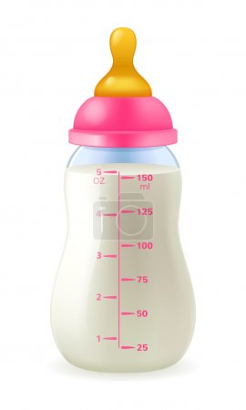 Baby bottle with milk formula - pink cap.