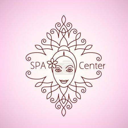 Spa beauty salon wellness center icon logo.