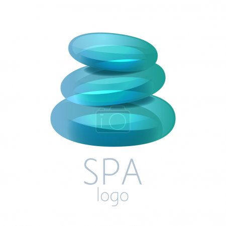 Beautiful turquoise spa stones stack logo sign.