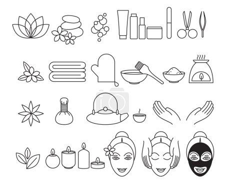 Spa beauty salon wellness center icons set.