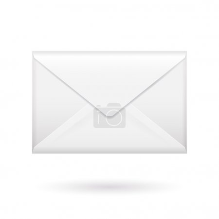 Realistic white closed envelope icon template.
