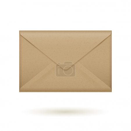 Realistic brown closed envelope icon template.