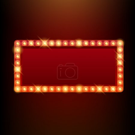 Illustration for Light bulbs vintage neon glow square frame vector illustration. Good for cinema show theatre circus casino design - Royalty Free Image