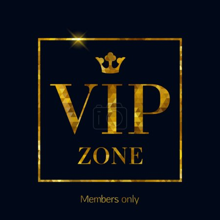 VIP zone abstract mosaic faceted letters illustration.