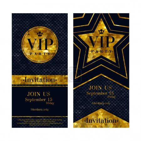 Illustration for VIP party premium invitation cards posters flyers. Black and golden design template set. Circle and star shaped mosaic faceted backgrounds - Royalty Free Image