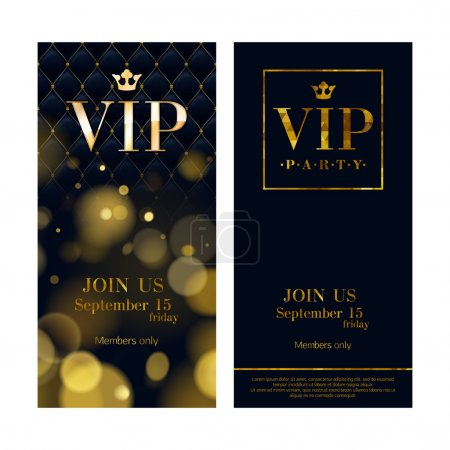 Illustration for VIP party premium invitation cards posters flyers. Black and golden design template set. Glow bokeh and wuilted pattern decorative background. Mosaic faceted letters - Royalty Free Image