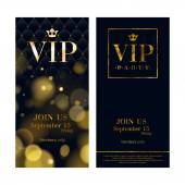 VIP party premium invitation cards posters flyers Black and golden design template set Glow bokeh and wuilted pattern decorative background Mosaic faceted letters