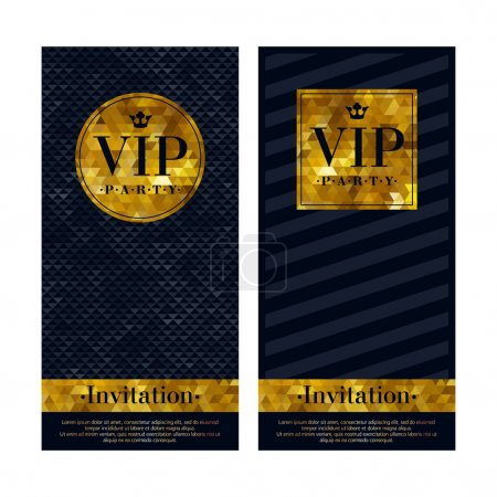 Illustration for VIP party premium invitation cards. Black and golden design template set. Triangle faceted and diagonal lines decorative patterns - Royalty Free Image
