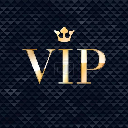 Illustration for VIP abstract triangle faceted background, golden letters with royal crown. Good for party invitation poster card flyer design - Royalty Free Image