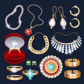 REalistic jewelry accessories icons set.