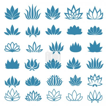 Lotus flower assorted icons set.
