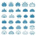 Lotus flower logo assorted icons set. Vector illus...
