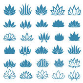 Lotus flower assorted icons set