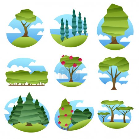 Illustration for Colorful abstract low poly style landscapes with trees set.. Folded paper style vector illustration. Forest garden scenery - Royalty Free Image