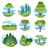 Colorful abstract low poly style landscapes with trees set Folded paper style vector illustration Forest garden scenery