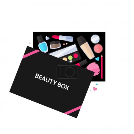 Beauty box cosmetics service illustration.