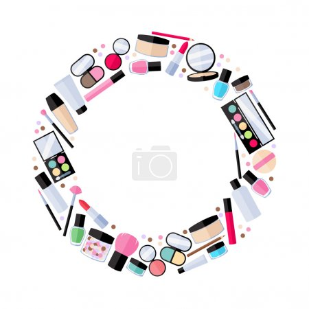 Cosmetics make-up beauty accessories illustration.