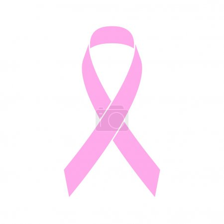 Illustration for Pink ribbon breast cancer awareness symbol. Vector illustration. Simple flat style - Royalty Free Image