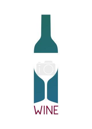 Illustration pour Bouteille de vin et logo en verre design. Café bar carte des vins illustration vectorielle manu - image libre de droit
