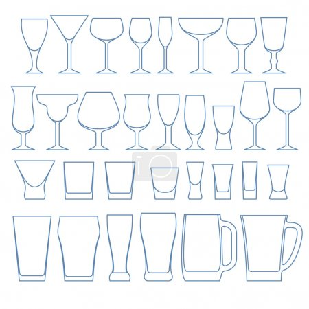 Alcohol drinks glasses set vector illustration.