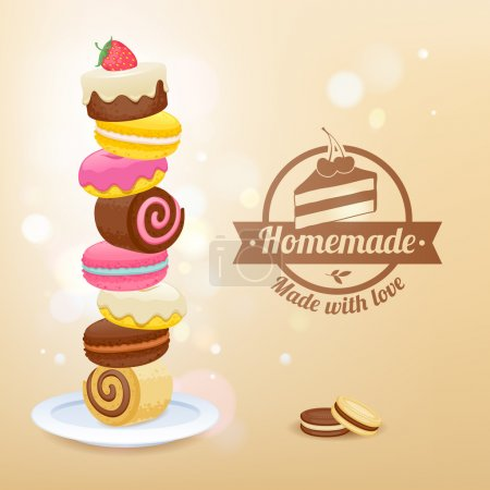Stack of sweets on plate vector illustration.