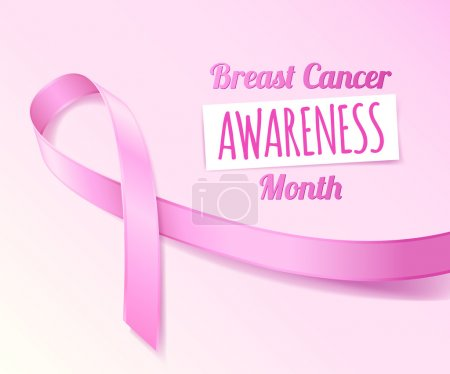 Pink ribbon breast cancer awareness symbol banner poster card.
