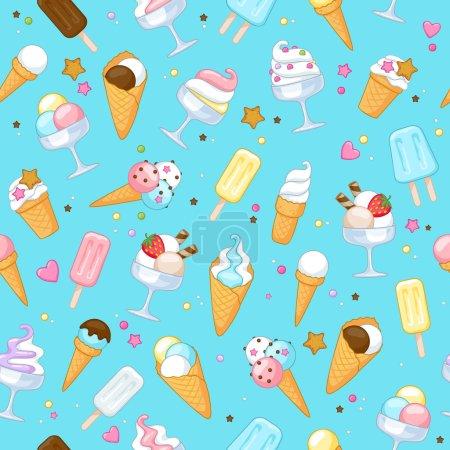 Illustration pour Icônes de crème glacée douce colorée fond sans couture. Illustration vectorielle - image libre de droit