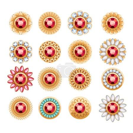 Elegant gemstones vector jewelry decorations set.