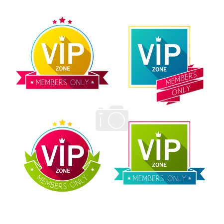 Colorful VIP badges labesl set.
