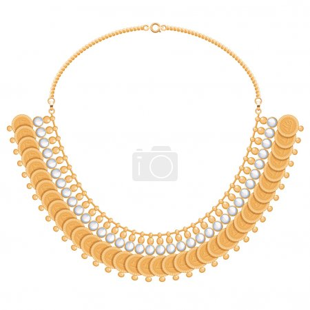 Chains and gemstones golden metallic necklace with round pendants.