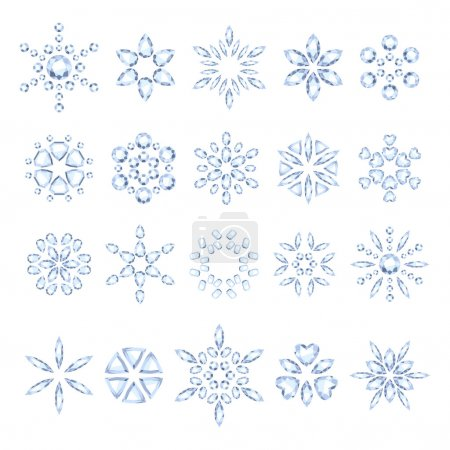 Diamond snowflakes set vector illustration.