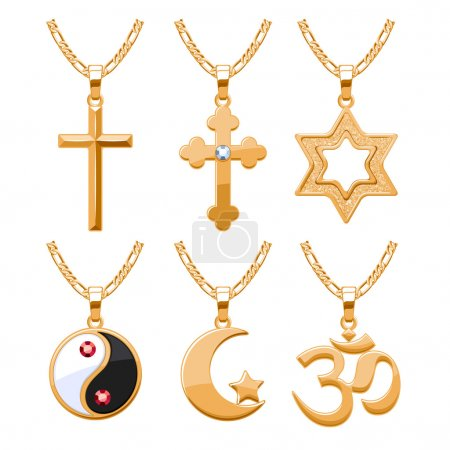 Elegant gemstones vector jewelry religious symbols pendants set.