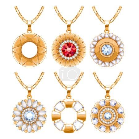 Elegant gemstones vector jewelry round pendants set.