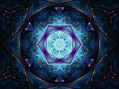 Dark blue fractal mandala, digital artwork for creative graphic design