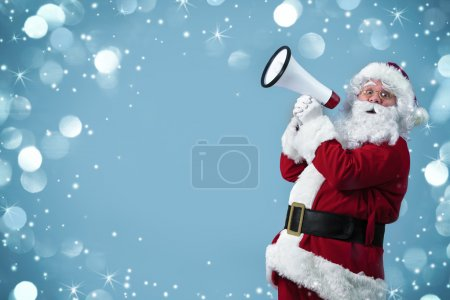 Photo for Santa Claus shouting using megaphone - Royalty Free Image