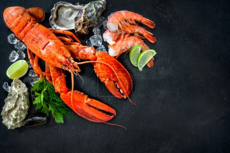 Shellfish plate of crustacean seafood with fresh l...