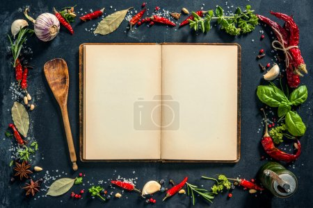 Herbs and spices with a recipe book